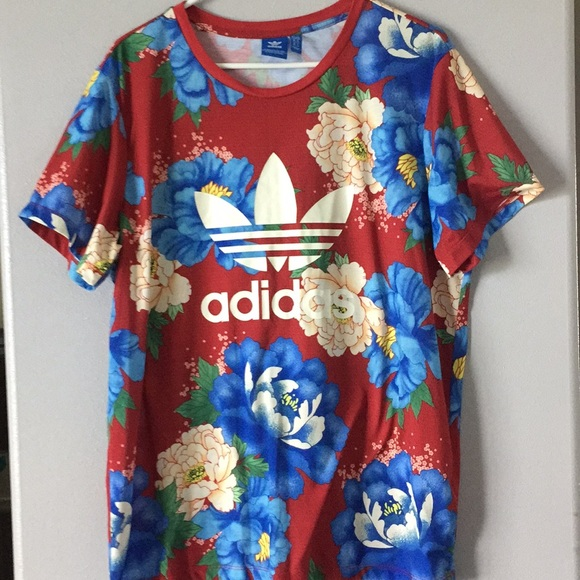 d20d19bf adidas Tops | Originals Trefoil Floral Shirt Large | Poshmark